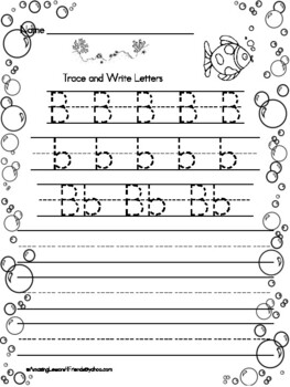 Trace and Write Under the Sea Worksheets