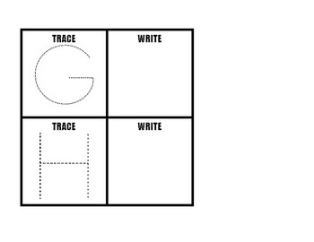 Trace and Write Uppercase Letters Task boxes