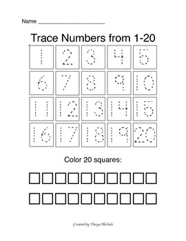 Trace and count numbers 1-20