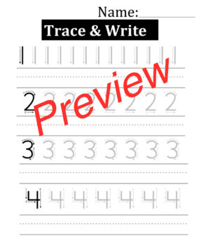 Trace and write numbers 1-10
