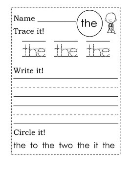 Trace it!  Write it!  Circle It!~ Sight Word Worksheets