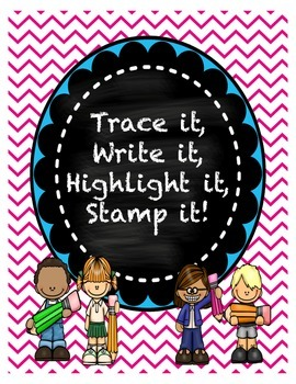 Trace it Write it Highlight it Stamp it Full alphabet set
