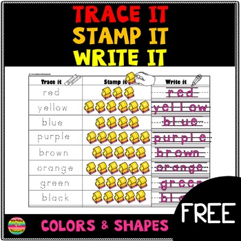 Stamping Center FREE; color words and shapes
