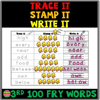 Trace it, Write it, Stamp it FRY words 3rd 100