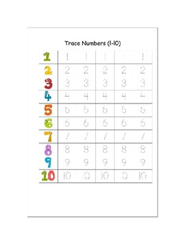 Trace numbers from 1 to 10