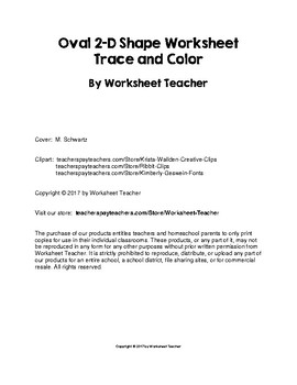 Oval 2-D Shape Worksheet - Trace and Color