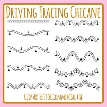 Trace the Driving Chicane Course Tracing Set for Fine Motor Control Clip Art