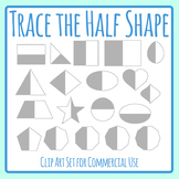 Trace the Half Shape - Symmetry Work Clip Art for Commercial Use