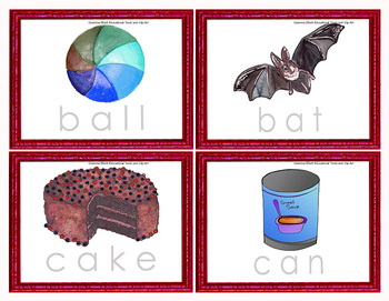 Vocabulary Trace the Words Dry Erase Task Cards K-1 in Color and BW