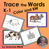 Trace the Words Vocabulary Task Cards K-1 Color & BW for Dry Erase & Word Rings