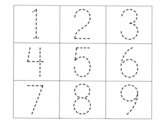 Trace the number page. 1 - 9 . Dot to dot tracing sheet. Practice page.