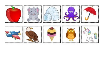 Trace vowels and find the pictures