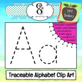 Traceable Alphabet and Number Clip Art