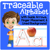 Traceable Alphabet with Guide Arrows, Finger Placement, an