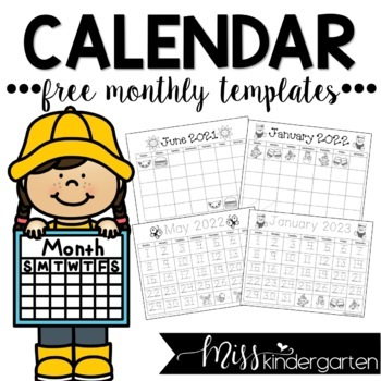 Free Blank Monthly Calendar 2020 Free Calendar Templates 2019 2020 by Miss Kindergarten Love | TpT