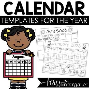Childrens Calendar Template 2022.2021 2022 Calendar Templates Freebie By Miss Kindergarten Love Tpt