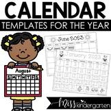 Free Calendar Templates from Miss Kindergarten