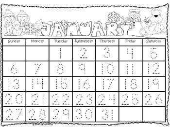 Traceable Calendar for Homeschool Students Jan to Dec