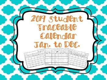December 2019 Tracing Calendar Traceable Calendar for Homeschool Students Jan to Dec by Mrs