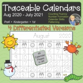 Traceable Calendars & Blank Calendars, 4-sets for 2020-2021