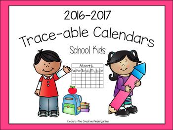 2 Set-Traceable Calendars {School Kids}