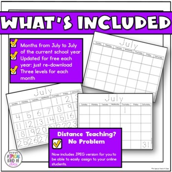 Traceable and Blank Calendars for 2017-2018