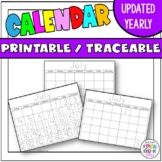 Traceable and Blank Calendars for 2019-2020