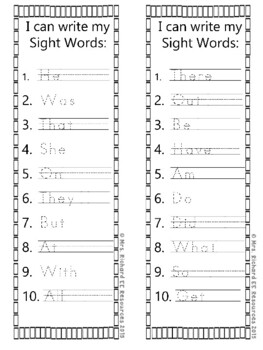 Sight Word Word Search and Tracing List V2