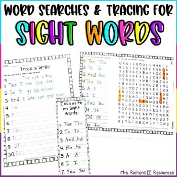 Sight Word Word Search and Tracing Lists