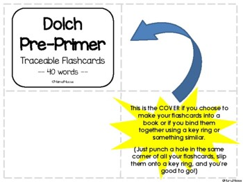 Traceable Dolch Word Flashcards--PRE-PRIMER List 40 words