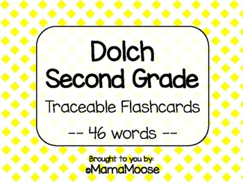 Traceable Dolch Word Flashcards--SECOND GRADE list 46 words