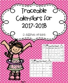 Traceable Monthly Calendar Pages 2017-2018