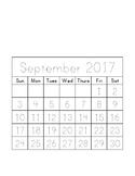 Traceable Monthly Calendar September 2017 - August 2018