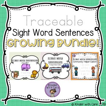 Traceable Sight Word Sentences - Growing Bundle
