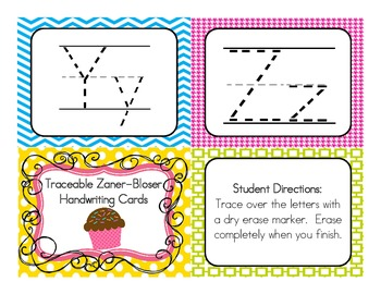 Traceable Zaner-Bloser Handwriting Practice Cards