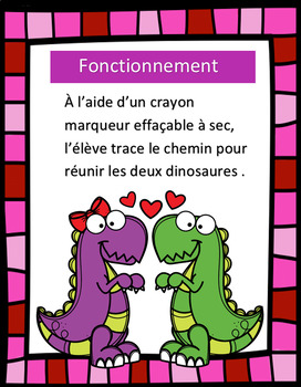 Tracés préscolaires - Les dinosaures amoureux