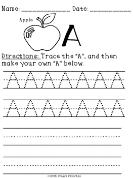 """Tracing the letter """"A"""" FREEBIE {Sample}"""
