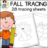 Tracing Activities ● Fall Picture Tracing Worksheets ● NO Prep