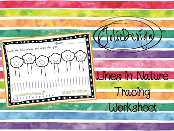 Tracing Activity - Lines in Nature Tree Pre-Writing Worksheet