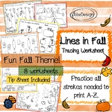 Tracing Activity - Lines in Fall Pre-Writing Worksheets