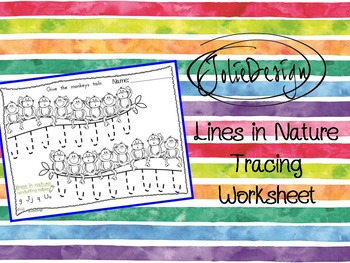 Tracing Activity - Lines in Nature Monkeys Pre-Writing Worksheet