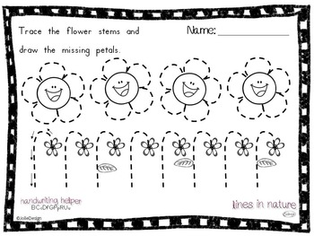Tracing Activity - Lines in Nature Pre-Writing Worksheet Bundle