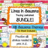 Tracing Activity - Lines in Seasons Pre-Writing Worksheets BUNDLE