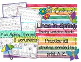 Tracing Activity - Lines in Spring Pre-Writing Worksheet Bundle