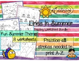 Tracing Activity - Lines in Summer Pre-Writing Worksheets