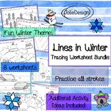 Tracing Activity - Lines in Winter Pre-Writing Worksheet Bundle