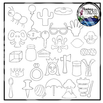 Tracing and Pinning Alphabet Clipart
