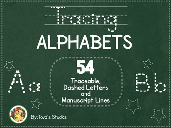 Tracing Alphabets- Traceable, Dashed Alphabets and Manuscript lines
