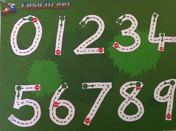 Tracing Card: Beginners Numbers by Easy Street to Handwriting.