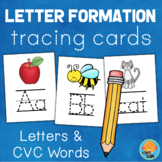 Letter Formation Tracing Cards - Letters & CVC Words - Handwriting